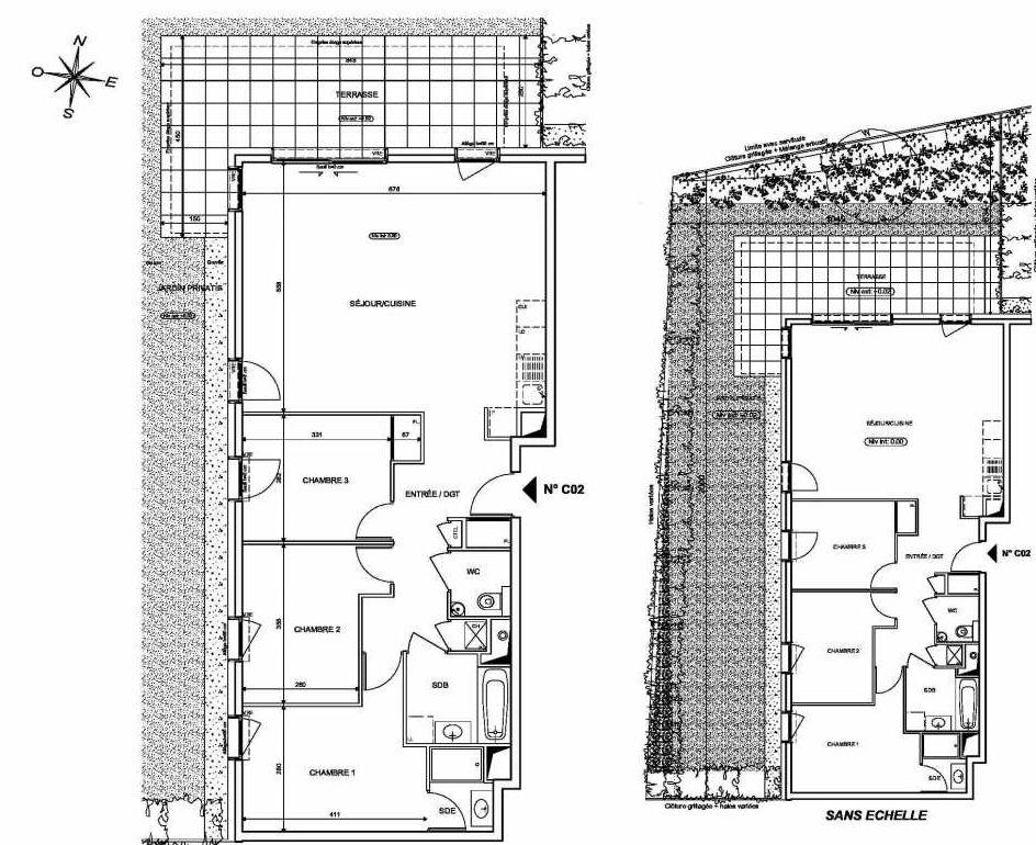 Plan C02, appartement neuf type T4 au Rez de chaussée, orienté Nord faisant 90m² du programme neuf INFINITY à Publier.