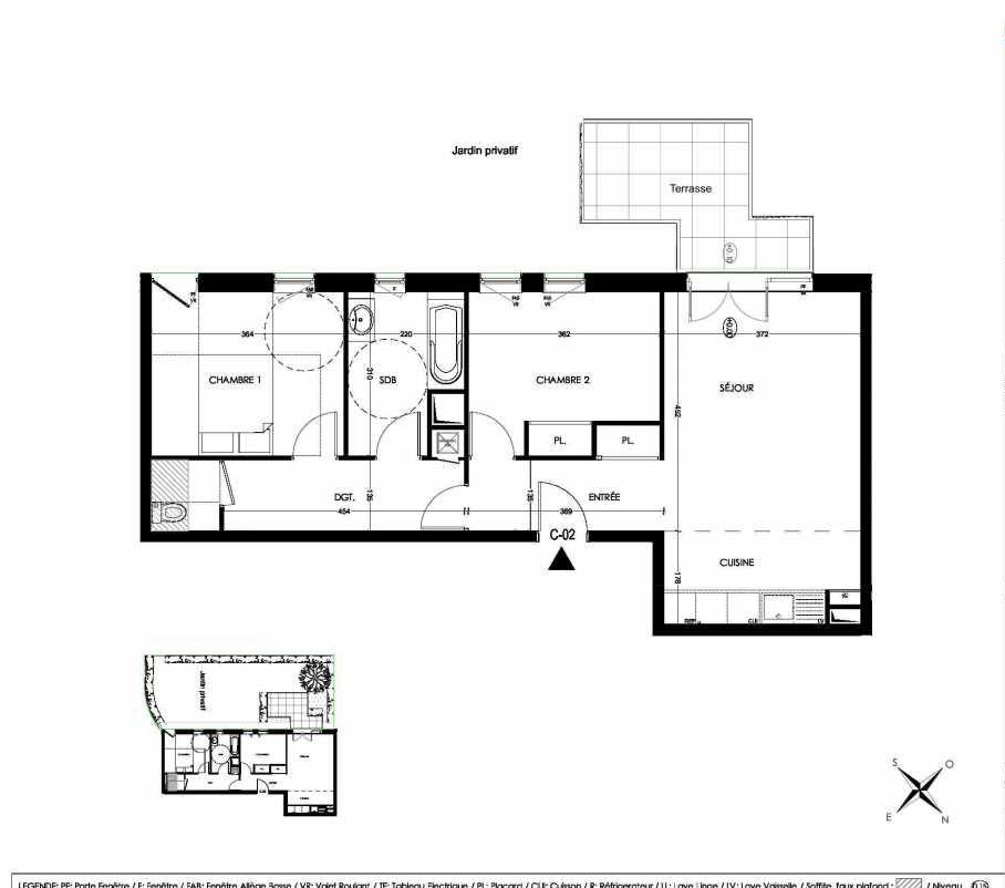 Plan C02, appartement neuf, orienté Sud faisant 64m² du programme neuf La Closeraie à Villeneuve-d'Ascq.