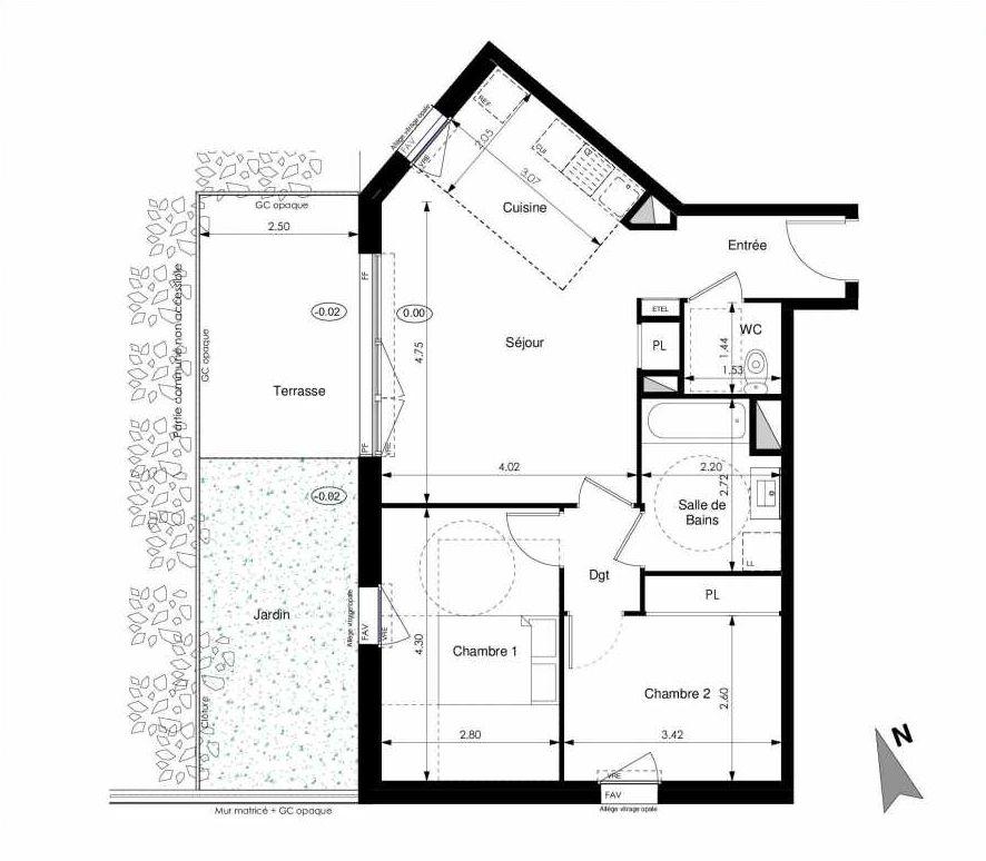 Plan C02, appartement neuf type T3 au Rez de chaussée, faisant 60m² du programme neuf Les Jardins d'Elise à Angers.