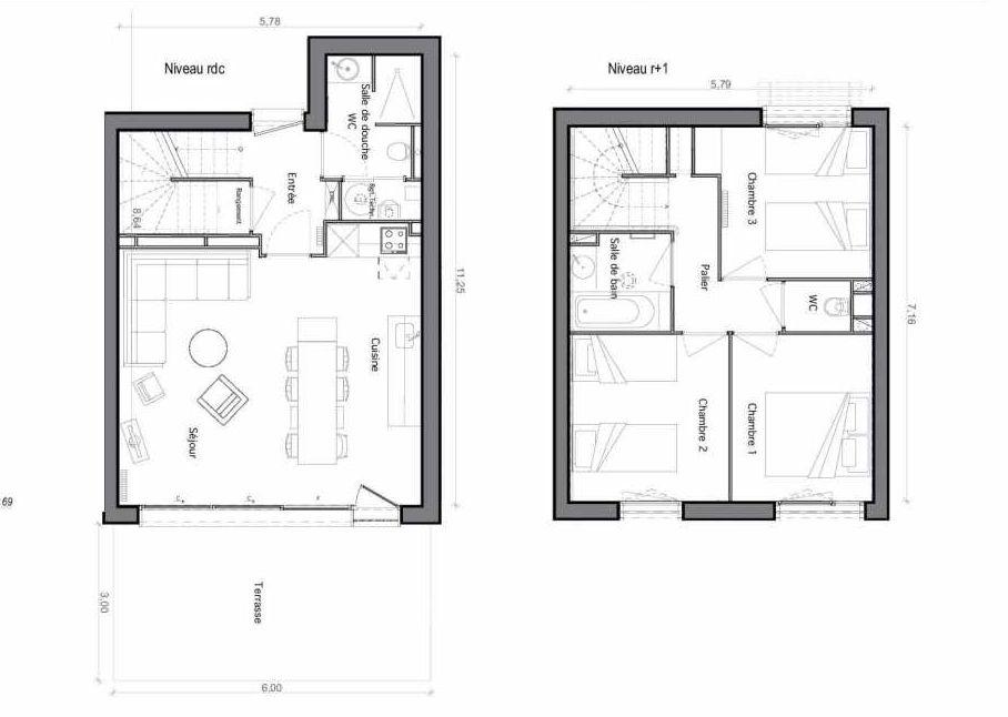 Plan C02, appartement neuf type T6 au Rez de chaussée, faisant 75m² du programme neuf Les Landes de Gascogne à Pindères.