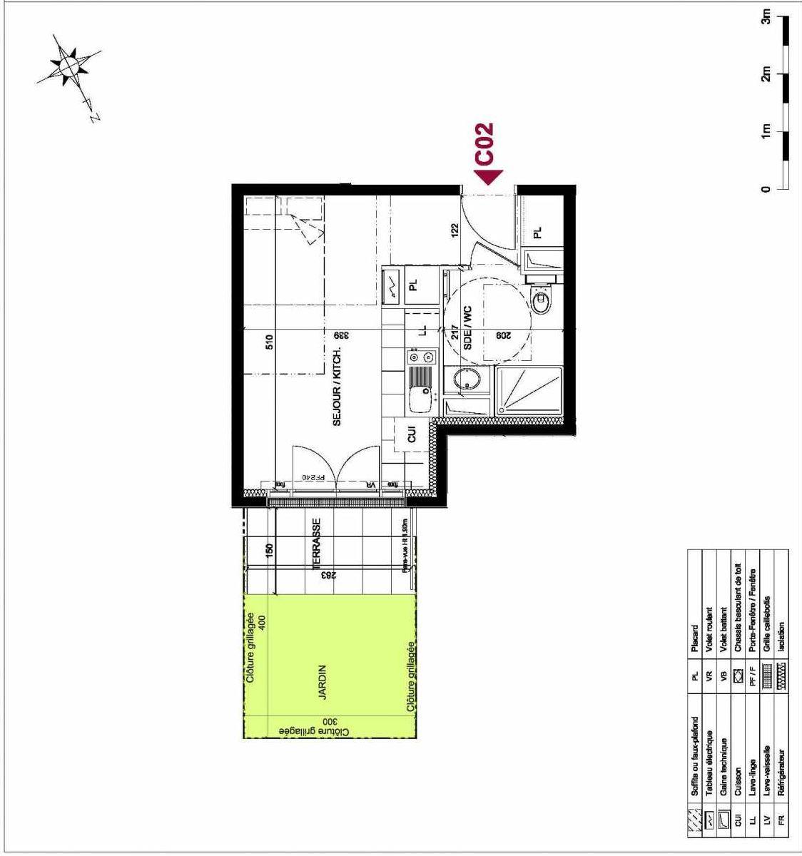 Plan C02, appartement neuf type T1 au Rez de chaussée, orienté Ouest faisant 24m² du programme neuf PICTURAL - CHATOU à Chatou.