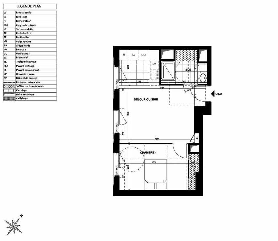 Plan C022, appartement neuf type T2 au Rez de chaussée, faisant 40m² du programme neuf L'INSTANT à Clichy.