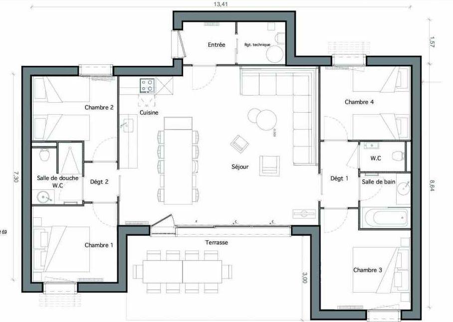 Plan C03-b, appartement neuf type T4 au Rez de chaussée, faisant 59m² du programme neuf Les Landes de Gascogne à Pindères.
