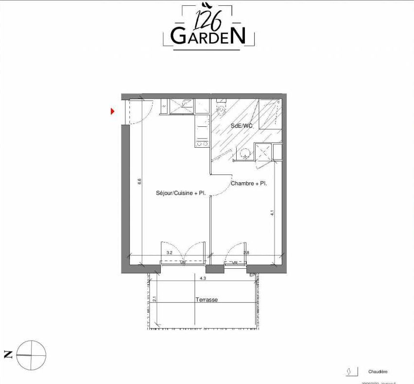Plan C03, appartement neuf type T2 au Rez de chaussée, faisant 39m² du programme neuf 126 GARDEN à Toulouse.