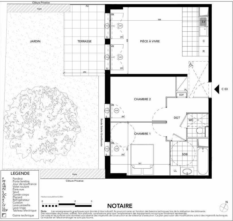 Plan C03, appartement neuf, orienté Sud faisant 59m² du programme neuf Gardenia à Argenteuil.