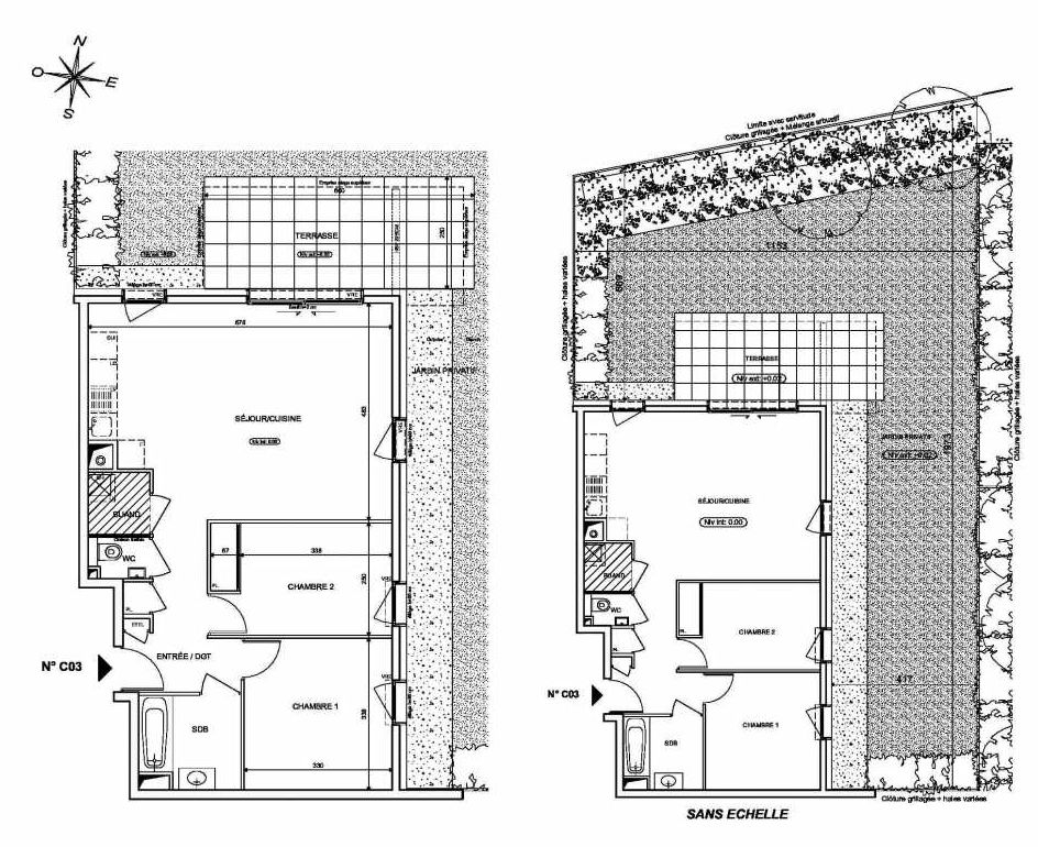 Plan C03, appartement neuf type T3 au Rez de chaussée, orienté Nord faisant 66m² du programme neuf INFINITY à Publier.