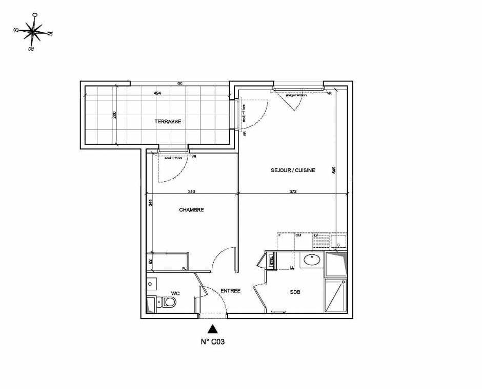 Plan C03, appartement neuf type T2 au Rez de chaussée, faisant 44m² du programme neuf Les Levants à Brignais.