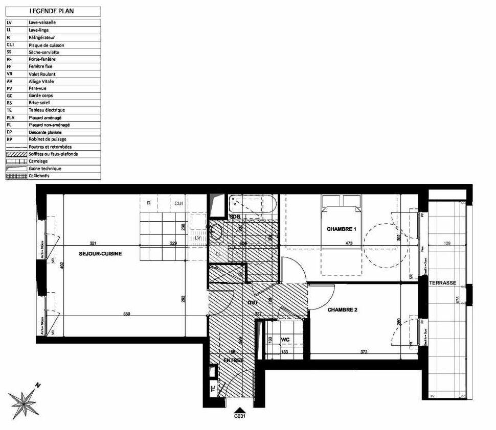 Plan C031, appartement neuf type T3 au Rez de chaussée, faisant 67m² du programme neuf L'INSTANT à Clichy.
