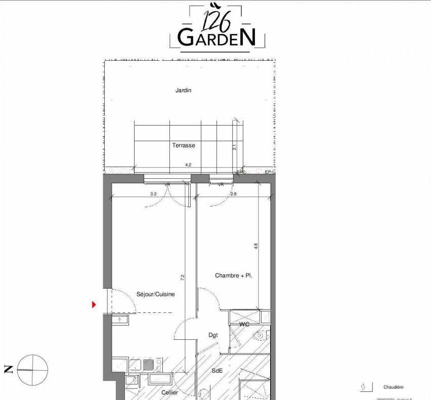 Plan C04, appartement neuf type T2 au Rez de chaussée, faisant 48m² du programme neuf 126 GARDEN à Toulouse.