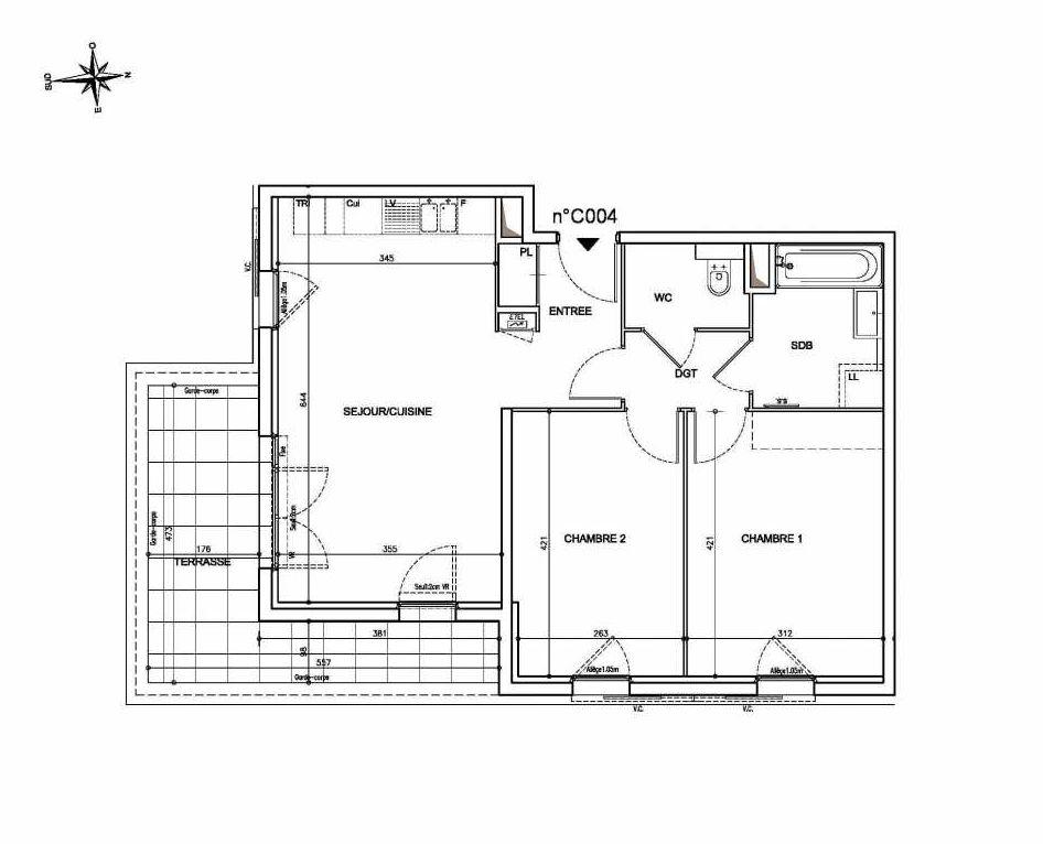 Plan C04, appartement neuf type T3 au Rez de chaussée, orienté Sud faisant 62m² du programme neuf Coeur Mougins - Jardins des Sens et Jardins en Vue à Mougins.