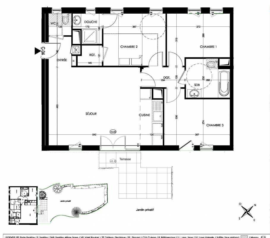 Plan C04, appartement neuf, orienté Sud faisant 79m² du programme neuf La Closeraie à Villeneuve-d'Ascq.