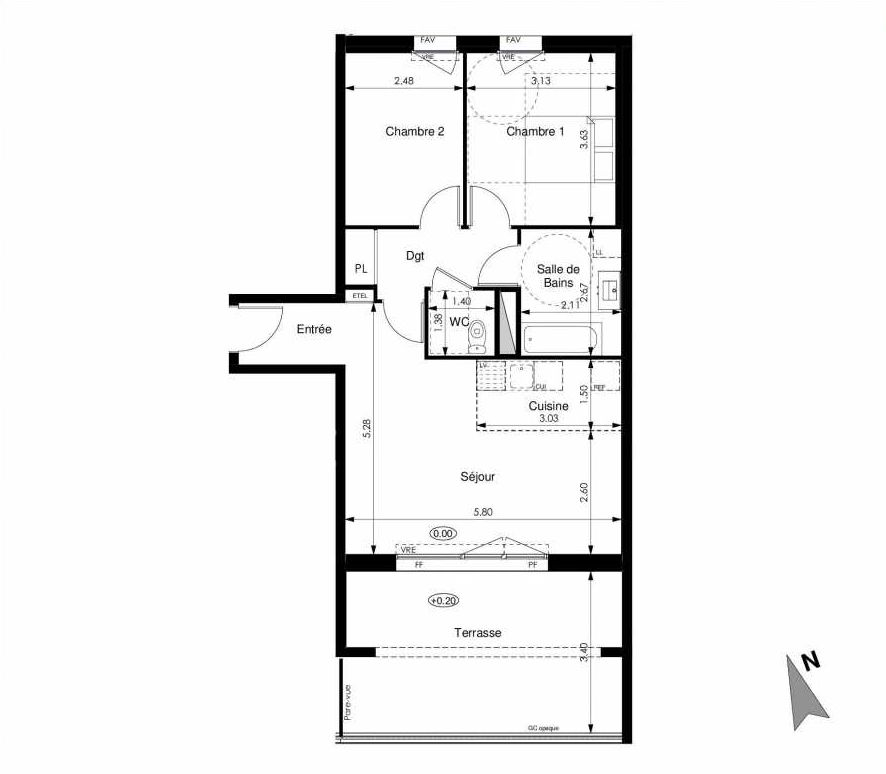 Plan C04, appartement neuf type T3 au Rez de chaussée, faisant 61m² du programme neuf Les Jardins d'Elise à Angers.