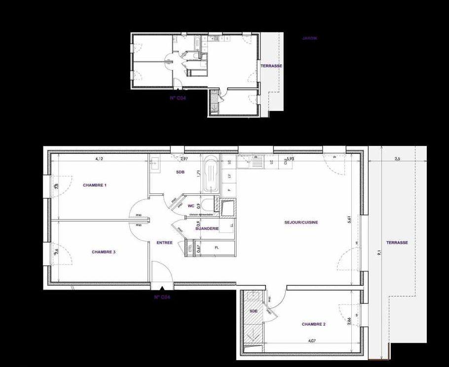 Plan C04, appartement neuf type T4 au Rez de chaussée, orienté Sud faisant 83m² du programme neuf Les Terrasses d'Orgeoise à Coublevie.