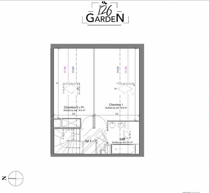 Plan C05, appartement neuf type T3 au 1er étage, faisant 67m² du programme neuf 126 GARDEN à Toulouse.