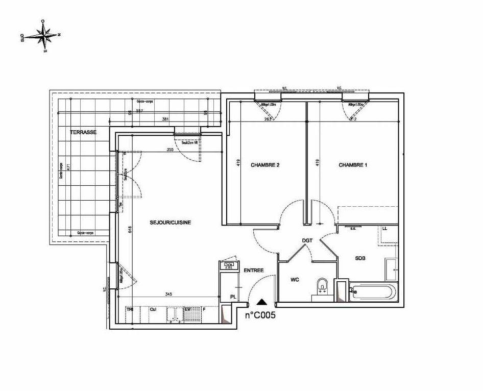 Plan C05, appartement neuf type T3 au Rez de chaussée, orienté Sud faisant 62m² du programme neuf Coeur Mougins - Jardins des Sens et Jardins en Vue à Mougins.