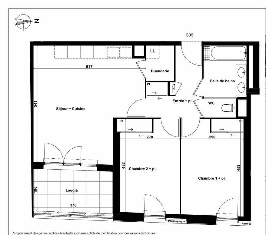 Plan C05, appartement neuf type T3 au 1er étage, faisant 65m² du programme neuf Excellence Méjanes à Aix-en-Provence.