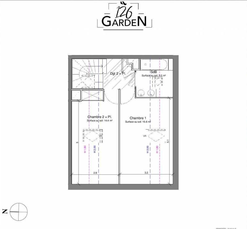 Plan C06, appartement neuf type T3 au 1er étage, faisant 67m² du programme neuf 126 GARDEN à Toulouse.