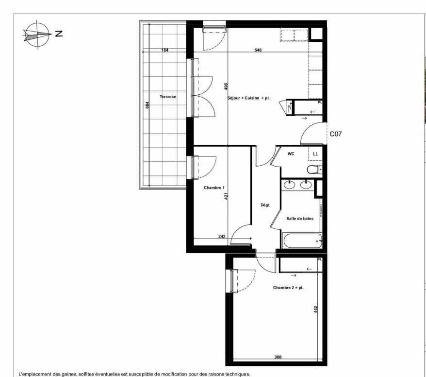 Plan C07, appartement neuf type T3 au 1er étage, faisant 66m² du programme neuf Excellence Méjanes à Aix-en-Provence.