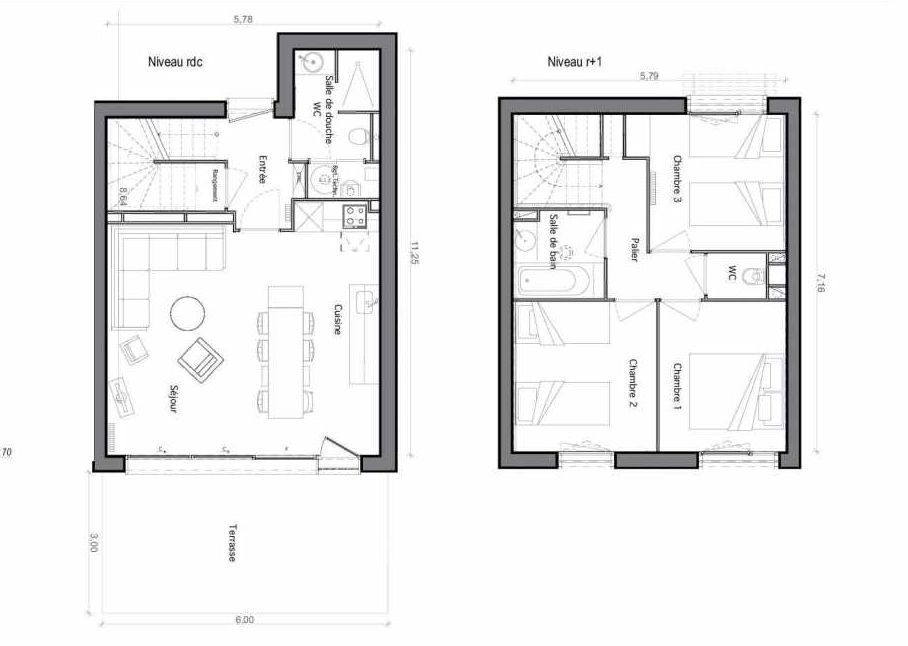 Plan C07, appartement neuf type T6 au Rez de chaussée, faisant 75m² du programme neuf Les Landes de Gascogne à Pindères.