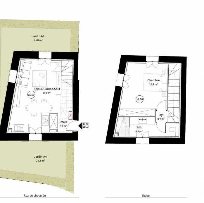 Plan C1, appartement neuf, faisant 44m² du programme neuf LE VIEUX TILLEUL à La Tour-de-Salvagny.