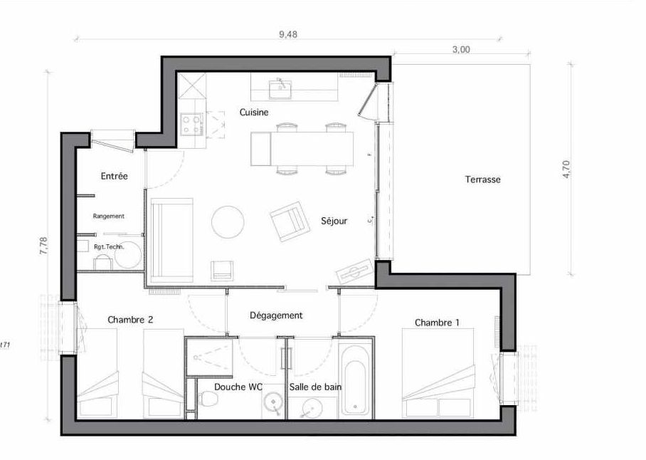 Plan C10, appartement neuf type T4 au Rez de chaussée, faisant 55m² du programme neuf Les Landes de Gascogne à Pindères.