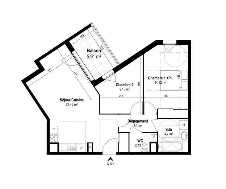 Plan C101, appartement neuf type T3 au 1er étage, orienté Est faisant 61m² du programme neuf SUNLODGE à Brignais.