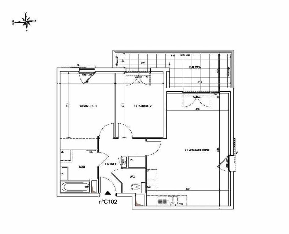 Plan C102, appartement neuf type T3 au 1er étage, orienté Ouest faisant 64m² du programme neuf Coeur Mougins - Jardins des Sens et Jardins en Vue à Mougins.