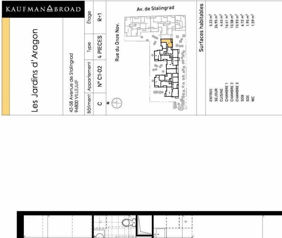Plan recadré du lot neuf du programme neuf Les Jardins d'Aragon