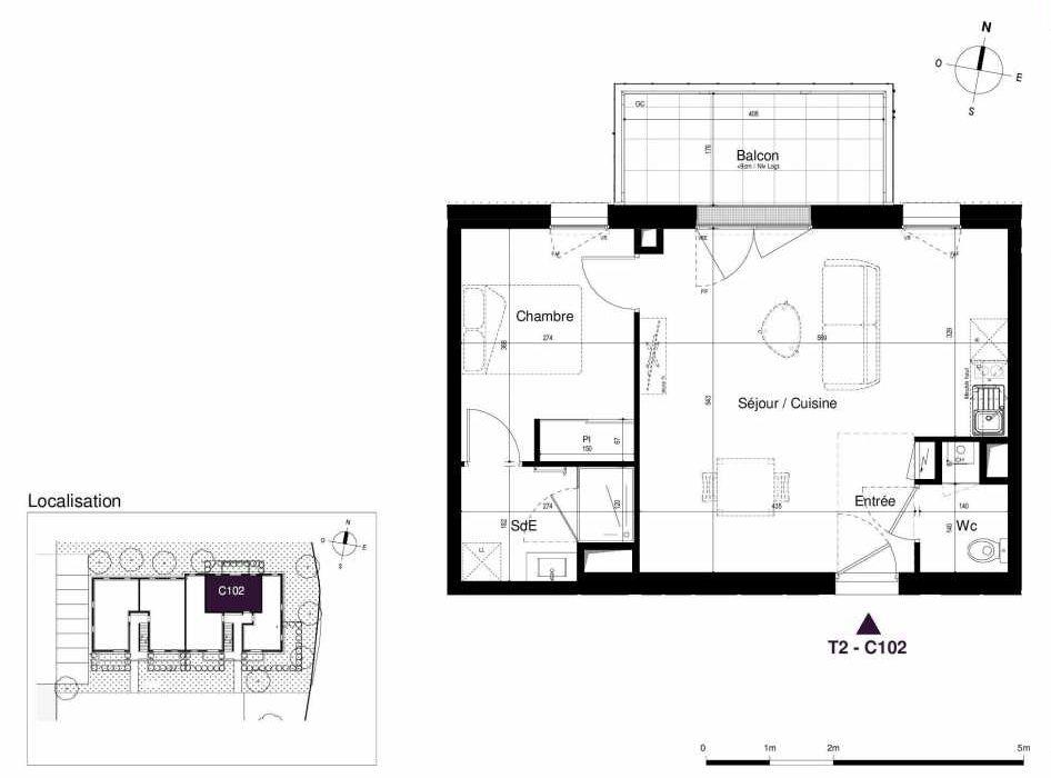 Plan C102, appartement neuf type T2 au 1er étage, orienté Est faisant 45m² du programme neuf LES RIVES DE LUCE à Sainte-Luce-sur-Loire.