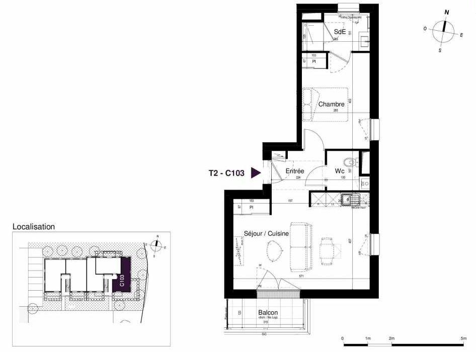 Plan C103, appartement neuf type T2 au 1er étage, orienté Sud faisant 44m² du programme neuf LES RIVES DE LUCE à Sainte-Luce-sur-Loire.