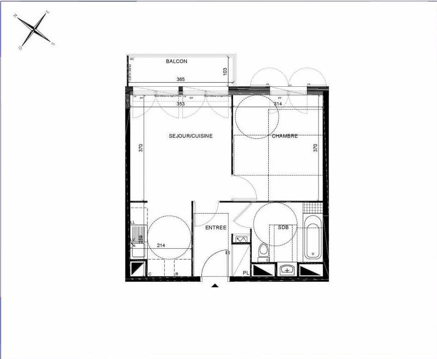 Plan C108, appartement neuf type T2 au 1er étage, orienté Nord faisant 40m² du programme neuf PASTELS à Villiers-sur-Marne.