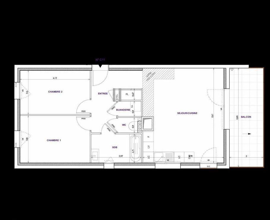 Plan C11, appartement neuf type T3 au 1er étage, orienté Sud faisant 64m² du programme neuf Les Terrasses d'Orgeoise à Coublevie.