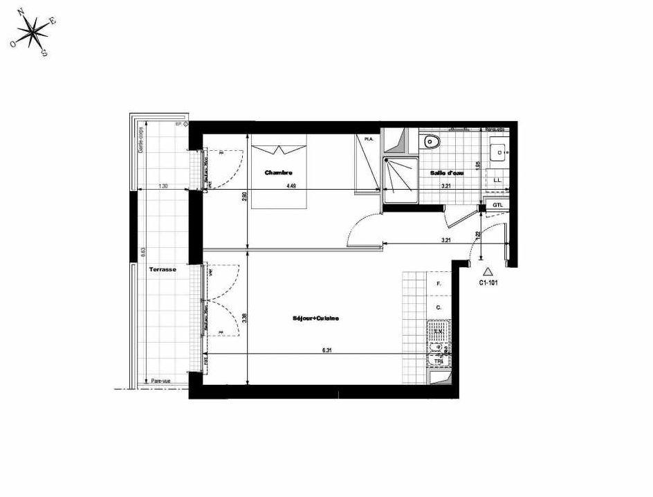 Plan C1101, appartement neuf type T2 au 1er étage, orienté Ouest faisant 43m² du programme neuf ALLURE - Rueil-Malmaison à Rueil-Malmaison.
