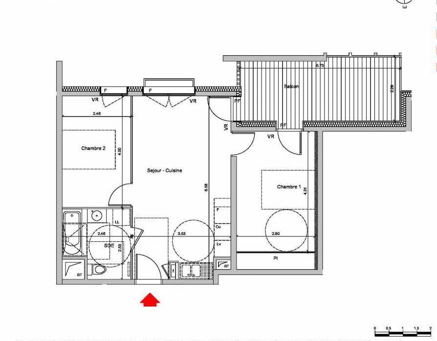 Plan C114, appartement neuf type T3 au 1er étage, orienté Ouest faisant 52m² du programme neuf Les Ateliers à Grenoble.
