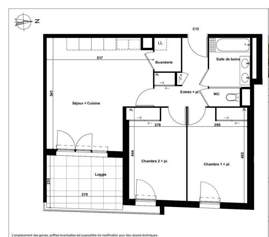 Plan C12, appartement neuf type T3 au 2ème étage, faisant 65m² du programme neuf Excellence Méjanes à Aix-en-Provence.
