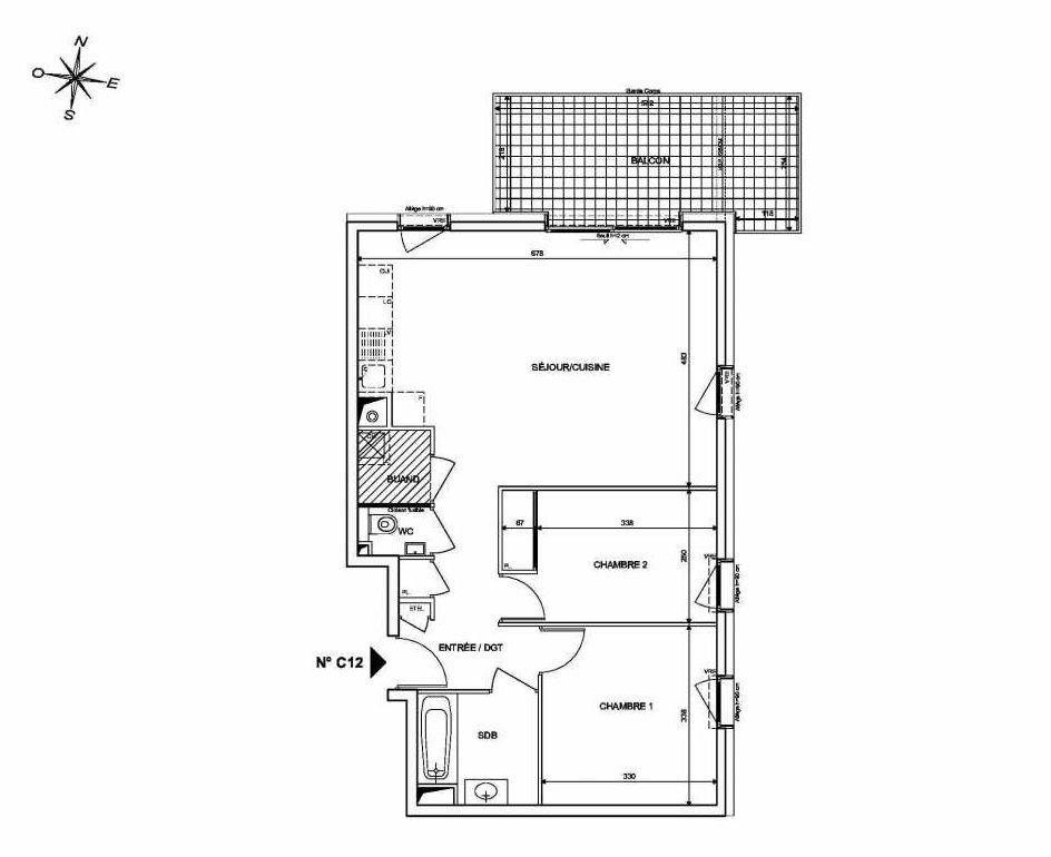 Plan C12, appartement neuf type T3 au 1er étage, orienté Nord faisant 66m² du programme neuf INFINITY à Publier.
