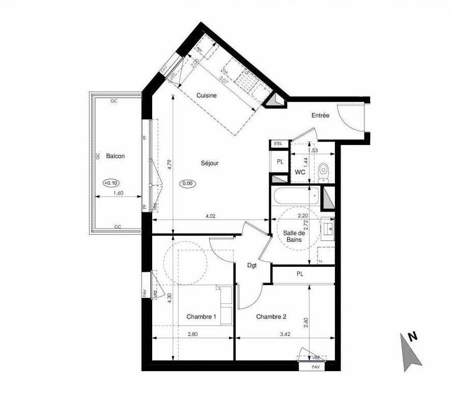 Plan C12, appartement neuf type T3 au 1er étage, faisant 60m² du programme neuf Les Jardins d'Elise à Angers.