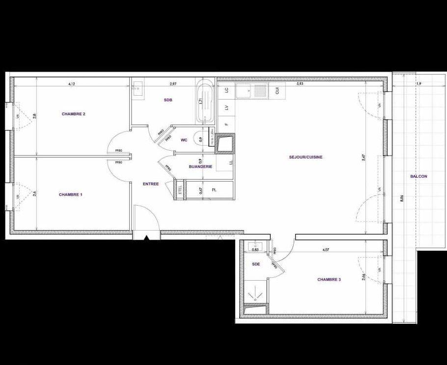 Plan C12, appartement neuf type T4 au 1er étage, orienté Sud faisant 82m² du programme neuf Les Terrasses d'Orgeoise à Coublevie.