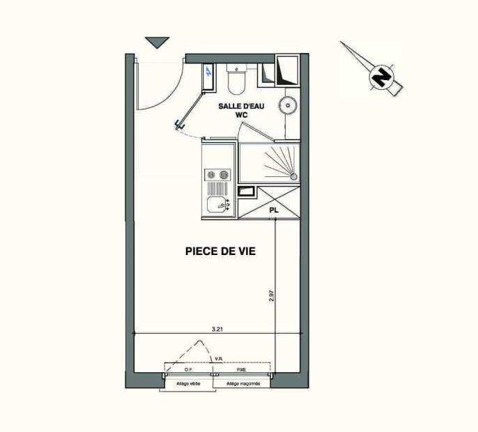 Plan C120, appartement neuf type T1 au 1er étage, faisant 19m² du programme neuf Kaiman - Nimes à Nîmes.