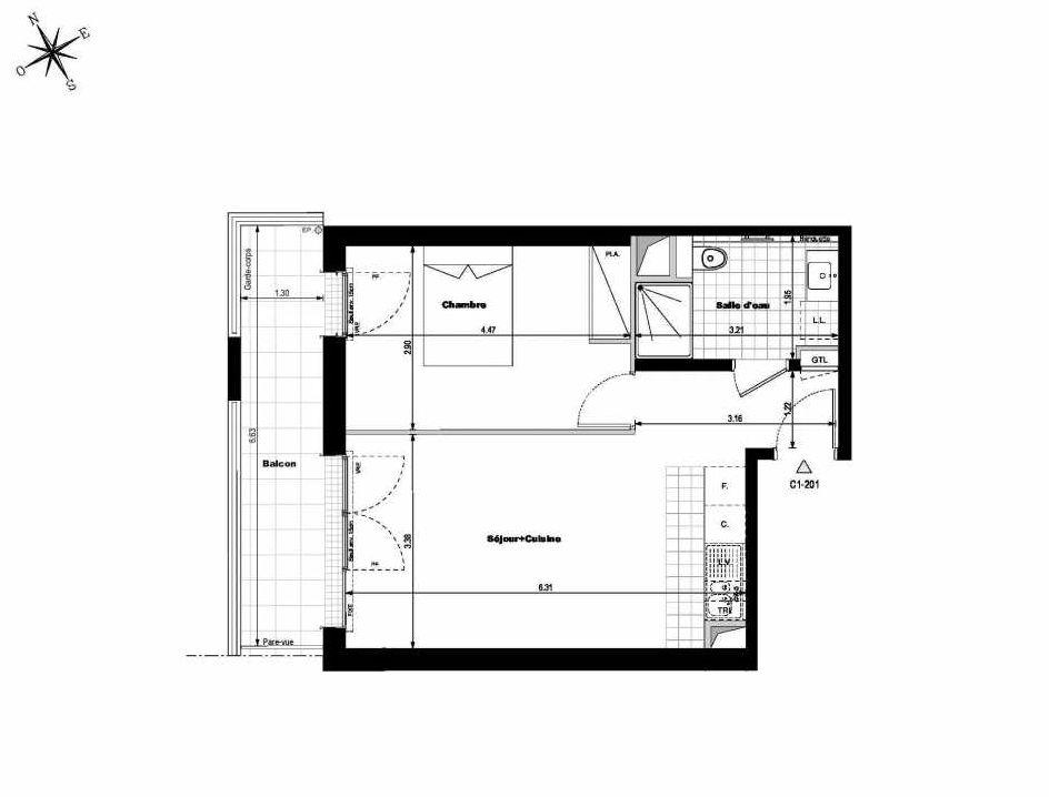 Plan C1201, appartement neuf type T2 au 2ème étage, orienté Est faisant 43m² du programme neuf ALLURE - Rueil-Malmaison à Rueil-Malmaison.