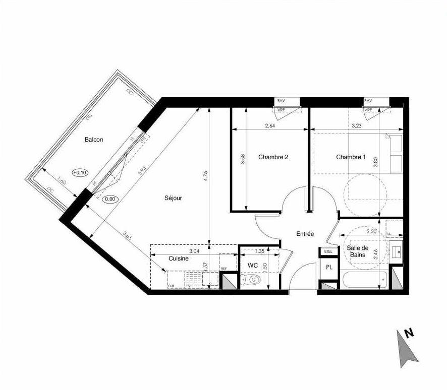 Plan C13, appartement neuf type T3 au 1er étage, faisant 60m² du programme neuf Les Jardins d'Elise à Angers.