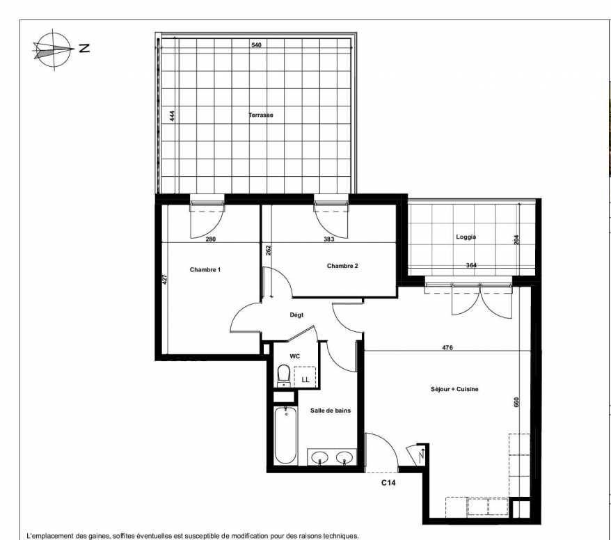 Plan C14, appartement neuf type T3 au 2ème étage, faisant 61m² du programme neuf Excellence Méjanes à Aix-en-Provence.
