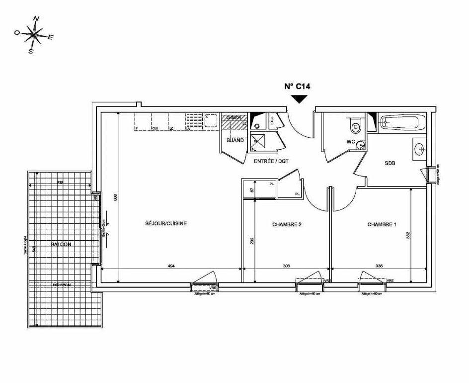 Plan C14, appartement neuf type T3 au 1er étage, orienté Sud faisant 66m² du programme neuf INFINITY à Publier.