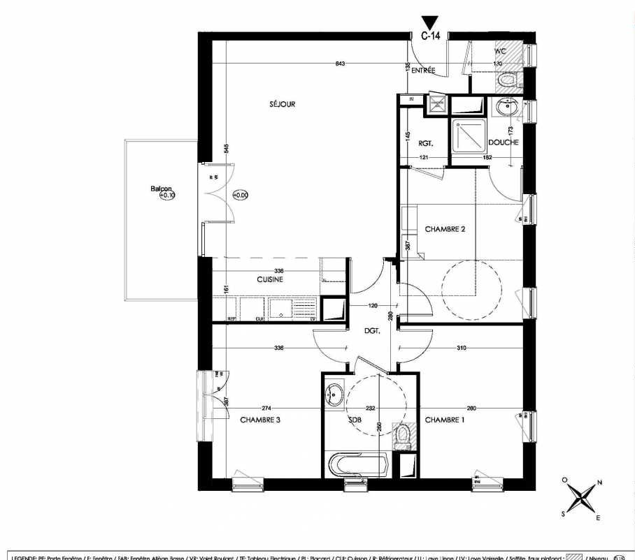 Plan C14, appartement neuf type T4 au 1er étage, orienté Sud faisant 82m² du programme neuf La Closeraie à Villeneuve-d'Ascq.