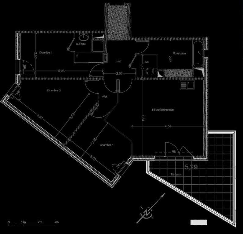 Plan C14, appartement neuf type T4 au 4ème étage, faisant 85m² du programme neuf Les Terrasses de l'Hippodrome à Marseille.