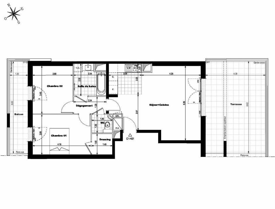 Plan C1401, appartement neuf type T3 au 4ème étage, orienté Est faisant 66m² du programme neuf ALLURE - Rueil-Malmaison à Rueil-Malmaison.