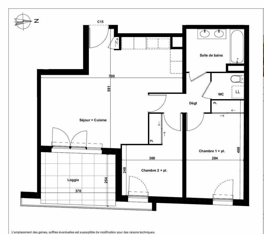 Plan C15, appartement neuf type T3 au 2ème étage, faisant 64m² du programme neuf Excellence Méjanes à Aix-en-Provence.