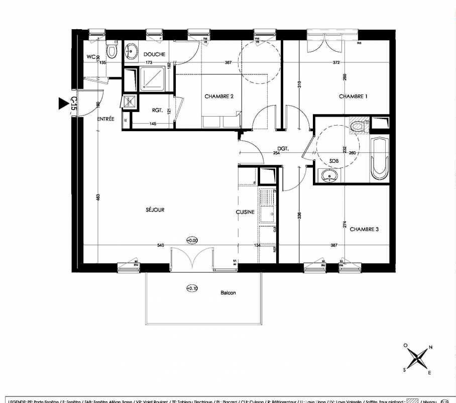 Plan C15, appartement neuf type T4 au 1er étage, orienté Sud faisant 79m² du programme neuf La Closeraie à Villeneuve-d'Ascq.