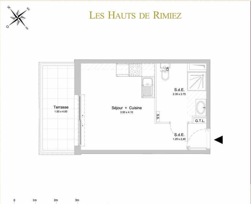 Plan C15, appartement neuf type T1 au 1er étage, orienté Ouest faisant 23m² du programme neuf Les Hauts de Rimiez à Nice.