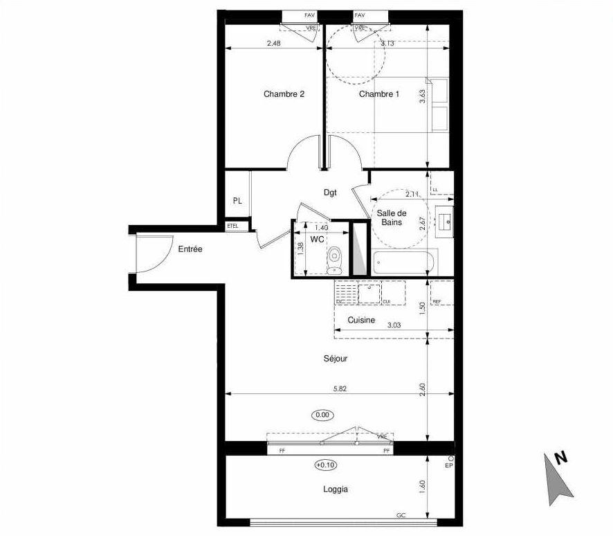 Plan C15, appartement neuf type T3 au 1er étage, faisant 61m² du programme neuf Les Jardins d'Elise à Angers.